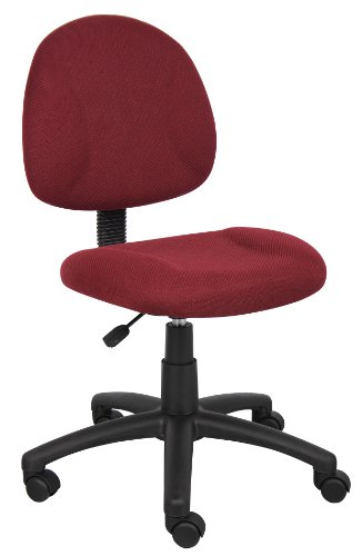 Boss Office Products Perfect Posture Delux Fabric Task Chair without Arms in Burgundy