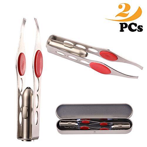 tweezers with light,led tweezers,Professional Tool Led Light Stainless Steel Eyebrow Tweezer Hair...