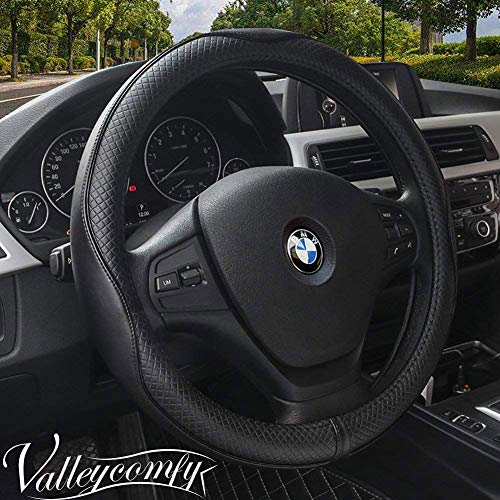 Valleycomfy Universal 15 inch Auto Car Steering Wheel Cover with Black Genuine Leather for HRV CRV...