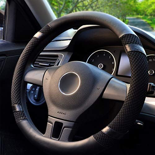 BOKIN Leather Steering Wheel Cover With Beathable Microfiber and Viscose for Men Women,Universal...