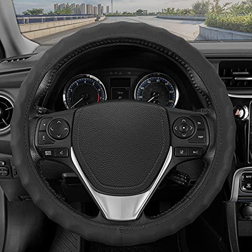 BDK Genuine Black Leather Steering Wheel Cover for Car, Medium (14.5' - 15.5') – Ergonomic Comfort...