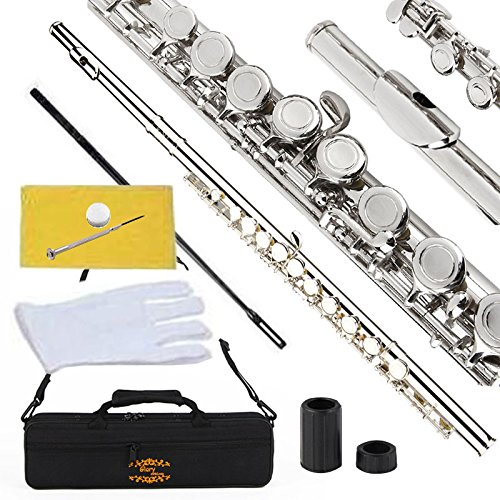 Glory Closed Hole C Flute With Case, Tuning Rod and Cloth,Joint Grease and Gloves Nickel Siver-More...