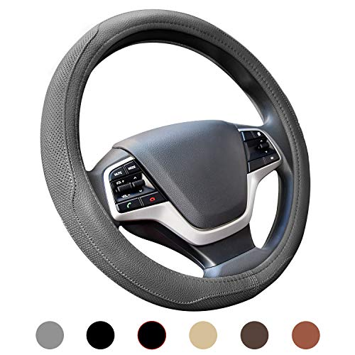 Ylife Microfiber Leather Car Steering Wheel Cover, Universal 15 inch Breathable Anti Slip Auto...