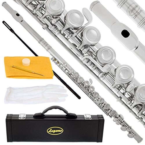 Lazarro Professional Silver Nickel Closed Hole C Flute for Band, Orchestra, with Case, Care Kit and...