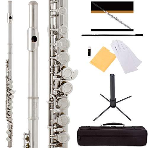 Mendini by Cecilio Premium Grade Closed Hole C Flute with Stand, Book, Deluxe Case and Warranty...