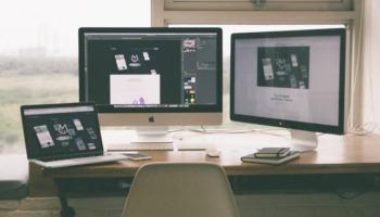 ergonomic desk setup two monitors